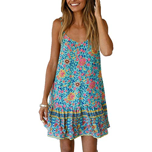 Biofieay Damen Spaghettiträger-Kleid Casual Mini ärmellos Sexy Floral Print Rüschen Boho Strand Sonnkleid Gr. L/38-40, blau -