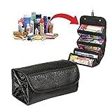 Amybria Roll-N-Go Kosmetiktasche 4 Fächer Make-up Taschen multifunktionale Aufbewahrungstasche zu