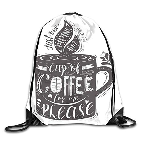 246bfdfed4724 EELKKO Drawstring Backpack Gym Bags Storage Backpack, Hand-Drawn Artistic  Lettering on A Coffee Cup Piping Hot Aromatic Beverage,Deluxe Bundle ...