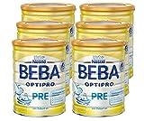 Nestlé BEBA Optipro Pre Anfangsmilch, 6er Pack (6 x 800 g), Pulver, wiederverschließbar, mit praktischer Messlöffelablage, 800 g Dose (Bild: Amazon.de)