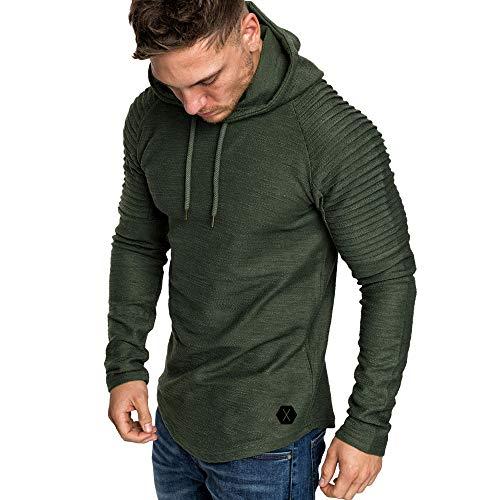 MRULIC Mode Sweatshirt Herren Plissee Slim Fit Langarm Hoodie Tops Pullover RH-009(Armeegrün,EU-46/CN-L)