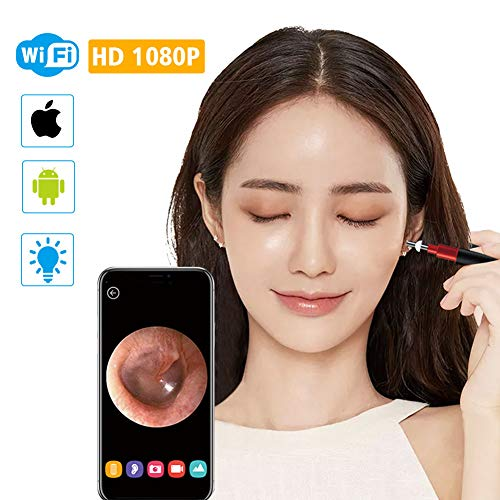 3,9mm WiFi Ohr Otoscope Wireless HD1080P Digital Endoskop Ohr Inspektionskamera Earwax Reinigungswerkzeug mit 6 Led für IOS Android,Black (Mini-digital-projektor Apple)