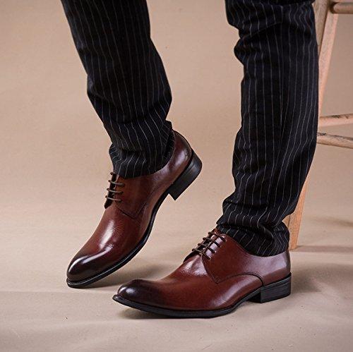 GRRONG Herren Lederschuhe Geschäft Spitz Freizeit Formelle Kleidung Brown
