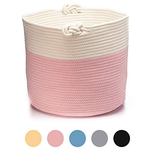 Skojig Großer Wäschekorb aus Leinen in 5 Farben (38x33cm, 45x35cm & 55x35cm) - Wäschesammler Wäschesack Korb für Kinderzimmer Schlafzimmer Badezimmer | Wäschetruhe Aufbewahrungskorb Laundy Basket