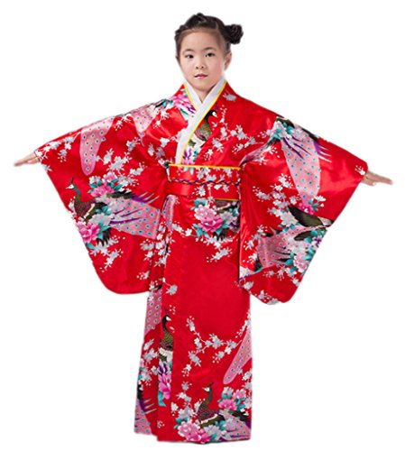 Smile YKK Kinder Kimono mädchen Geblümt Pfau Bilder Kimono