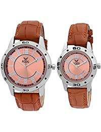 Fogg Analogue Brown Dial Men'S And Women'S Watch 5001-Br Couple Watch