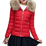Sonnena New Womens Ladies Quilted Winter Coat Puffer Fur Collar Hooded Jacket Parka Coat (S, Red)
