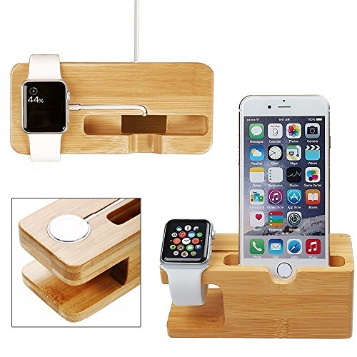 Apple watch stand, xphonew bambù legno multifunzione caricabatteria supporto di ricarica dock/stazione/culla/supporto per iphone 7 plus 7 5s 6 6s plus 5 se iwatch 38 mm e 42 mm samsung galaxy s6 s7 mobile phone