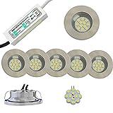 2-5x LED Halogen 2W Einbaustrahler mit Netzteil und LED Leuchten kaltweiß weiss 230lm KOMPLETTSET (5x Einbauleuchten)