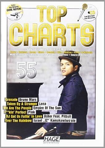 Top Charts 55 mit Playback CD: Newcomer, Titelverteidiger und Hitgaranten in einem Songbook