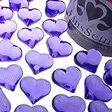 EinsSein 30x Dekosteine Funkelnde Herzen 22mm lila Dekoration Streudeko Konfetti Tischdeko Hochzeit Hochzeit Konfetti Diamanten Diamant Glas groß