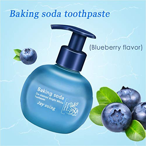 leckenentfernung Gel Zahnpasta, Fruchtig Intensiv Whitening Zahnpasta Kampf Zahnfleischbluten, frischer Atem, Drücken Pumpenverpackung 220g (Blau) ()