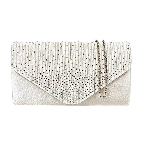 Strass Designer-handtasche (Tedim Satin Plissee & Schaum Diamante Clutch Handtasche/Damen Mädchen Designer-Hochzeits-Umhängetasche/Abendtasche (Elfenbein))