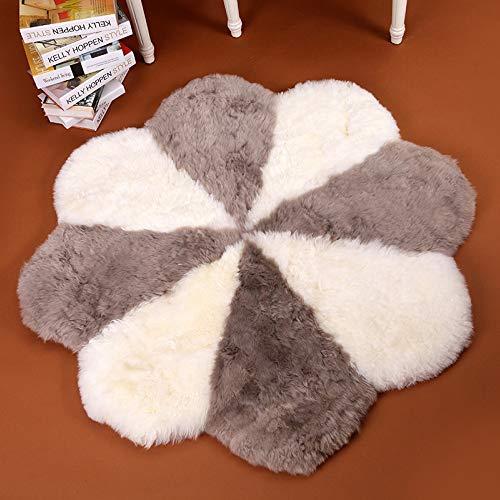 Verziert Faux Pelz (Rmckj Grau + Weiß Natürlich Schaffell Area Teppiche Lammfell Blütenform Teppich Wahr Pelz Wolle Weich Flauschige Zum Yoga-Pads Haus Dekoration,Diameter120cm/47.2inch)