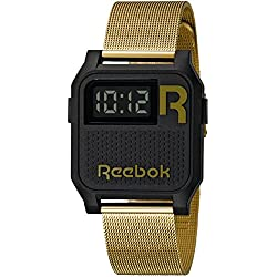 Reebok Vintage Unisex Quartz Watch with Black Dial Digital Display and Gold Stainless Steel Gold Plated Bracelet RC-VNE-U9-PBS2-B2
