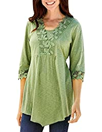 Fossen Camisetas Mujer Baratas blusas mujer tallas grandes en ofertas blusas de mujer elegantes con encaje
