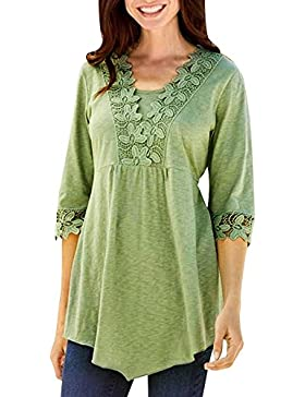 Fossen Camisetas Mujer Baratas Blusas Mujer Tallas Grandes EN Ofertas Blusas de Mujer Elegantes con Encaje de...