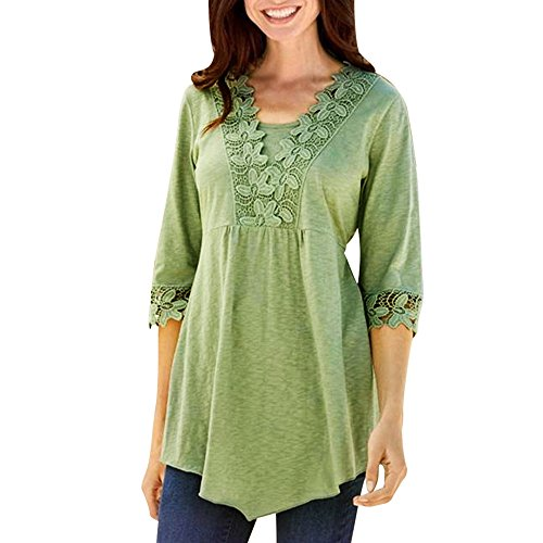ALISIAM Femmes Occasionnel Base Solide Laciness Couture Demi manches T-shirt Top Chemisier Vert