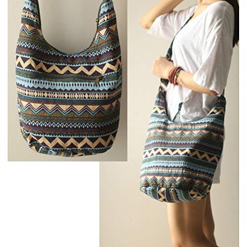WYLNSTB Damentasche Einstellbare Sling Crossbody Messenger Schultertaschen für Frauen Lady Girl Bohemian Hippie Thai Top Taschen Hipster Bag Tragbare Umhängetasche