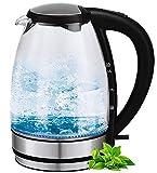 Glas Edelstahl Wasserkocher | 2.200 Watt 1,7 Liter | LED Beleuchtung | kabellos 360° (Glas- Edelstahl)