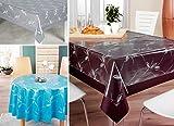 Beautex Transparente Folie bedruckt MOTIV und Größe wählbar, Tischdecke Tischschutz Rund Oval Eckig (Ranke weiß Eckig 140x180 cm) - 2