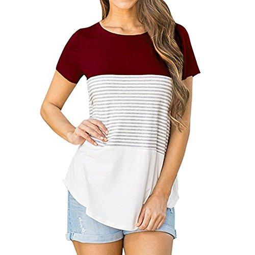 MRULIC Frauen Kurzarm Oberteile Damen Dreifach Farbe Block Streifen T-Shirt Casual Bluse (EU-36/CN-S, Weinrot)