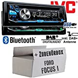 Ford Focus 1 - JVC KD-DB97BT - DAB+ Digitalradio | Bluetooth | USB | Autoradio inkl. DAB+ Antenne - Einbauset