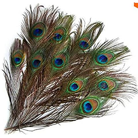 Edealing Plumas de la cola 100PCS PAVO REAL NATURAL LARGO PARA BOUQET Sombrerería CRAFT