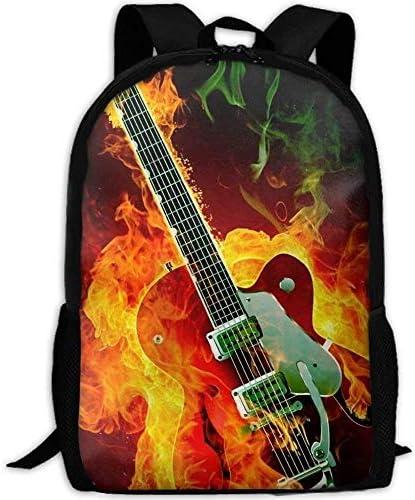 Casual Electric Guitar With Fire Fire Fire Laptop Backpack School Bag Shoulder Bag Travel ypack Handbag   Acquista    Fine Anno Vendita Speciale    Di Prima Qualità  2ddb2d
