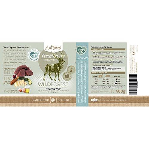 AniForte® PureNature Nassfutter 5+1 getreidefrei Probierpaket 6x400g Huhn Büffel Wild Lamm Rind Hundefutter- Naturprodukt für Hunde - 4