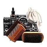 Symeas Beard Grooming & Trimming Kit Coffret barbe de croissance pour hommes Shaping & Hydratant avec revitalisant sans rinçage inodore Huile, moustache et barbe de cire