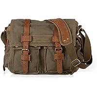 Sechunk Vintage Military Canvas Leather Laptop Bag computer Messenger Bag Borse a tracolla corpo della traversa del sacchetto Bauletto Cartella Borsa Borsa di lavoro Sport Bag sacchetto di scuola