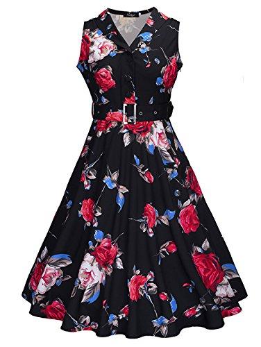 Feoya - Femme été Robe Longue de Cocktail Hepburn Style élégant Sans Manche Col V Vintage 50s Années - Fleur - Blanc/Noir/Blanc - Taille M/L/XL/XXl Noir