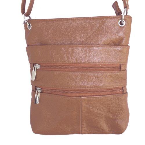 Echtes Leder Kleine Schulter überqueren Körper Reise Mini-Geldbeutel-Tasche Durch Silber Fever ® Hellbraun