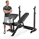Marcy Eclipse BE3000 Weight Bench with Squat Rack - Arm Curl Pad & Leg Extension | 270kg Load