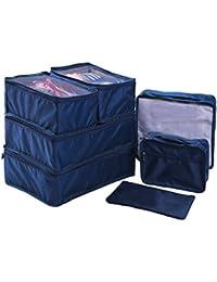 Ewparts 7 unidades bolsas impermeables nylon organizador de viajes, organizador de maletas (Dark blue)
