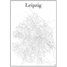 Leipzig Poster — Stadtplan Plakat Staßennetz (60 cm x 84 cm) Kunstdruck