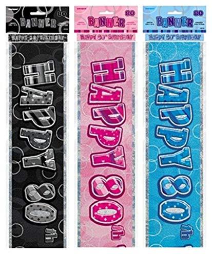 NANA'S PARTY Glitz Spruchband für Geburtstagspartys, 3 Farben, ca. 2,7 m, Pink Glitz, 80th Birthday/Age 80