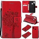 Shinyzone Huawei P20 Lite Flip Brieftasche Leder Hülle,Niedlich Karikatur Geprägte Katze & Baum Muster Kartenfach Magnetverschluss mit Ständer Handyhüllen für Huawei P20 Lite,Rot