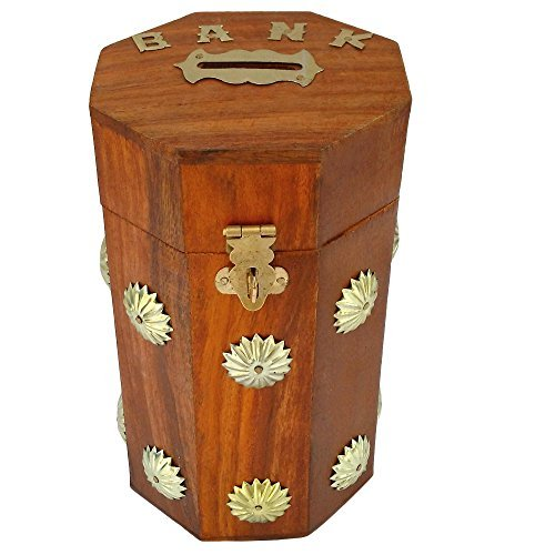 ITOS365 Handicrafted Wooden Money Bank Kids Piggy Coin Box Gifts  available at amazon for Rs.220