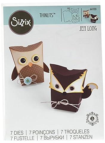 Sizzix 661133 Thinlits Die Set Matrice Boîte Hibou et Renard par Jen Long Acier Carbone Multicolore 20,5 x 13,5 x 0,3 cm 6 Pièces - Singles Sizzix Sizzlits