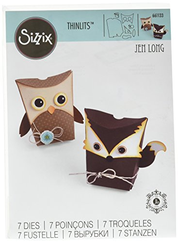 Sizzix 661133 Fustella Thinlits Box Owl & Fox di Jen Long, Carbon Steel, Multicolore, 26.4x13.1x0.2 cm