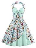 Babyonline - Vestido - Cuello hálter - Floral - Cuello Redondo - Sin Mangas - 95 DEN - para Mujer Verde Claro M