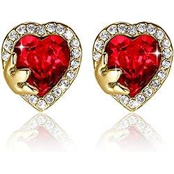 GoSparking de cristal rojo de 18K oro rosa plateado de la aleación del perno Corazón Traspasado Pendientes con cristal austriaco para las mujeres