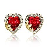 """""""Vintage Heart"""" Boucles d'oreilles plaquées or rose avec des cristaux Rouge Siam de Swarovski par GoSparkling"""