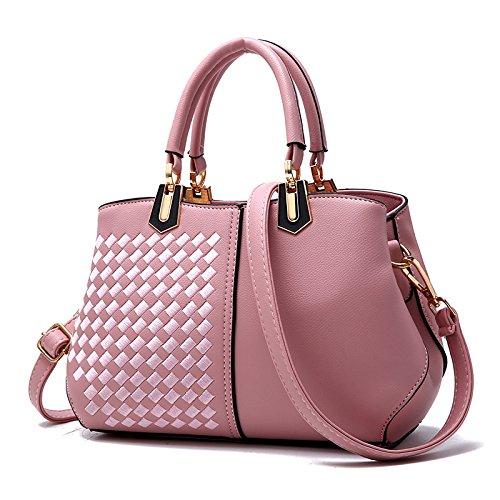 GUANGMING77 Onorevoli Borsetta Sacchetto Signora _ Tutti-Match Spalla Tessuti,Stile Rosa Tre Style two braided Pink