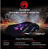 Scorpion MA-M309+G7 - Ratón Gaming y Alfombrilla, Color Negro