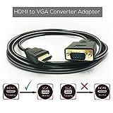 HDMI-zu-VGA-Kabelkonverter, 6-Ft-1,8-M-1080P-HDMI-Stecker auf VGA-Stecker D-SUB 15-poliger M / M-Stecker Adapterkabel Kabel-Sender, HDMI-zu-VGA-Übertragungskabel
