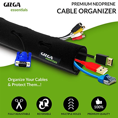 Cable Organiser - Manager, Gizga Essentials Cord Management System for PC , TV, Home Theater, Speaker, HDMI & Cables -Flexible Neoprene Wrap