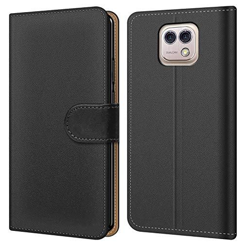 Conie BW18967 Basic Wallet Kompatibel mit LG X Cam, Booklet PU Leder Hülle Tasche mit Kartenfächer & Aufstellfunktion für X Cam Case Schwarz
